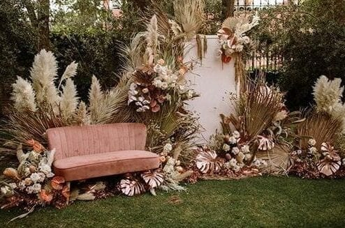 Bohemian bride stage roze bank
